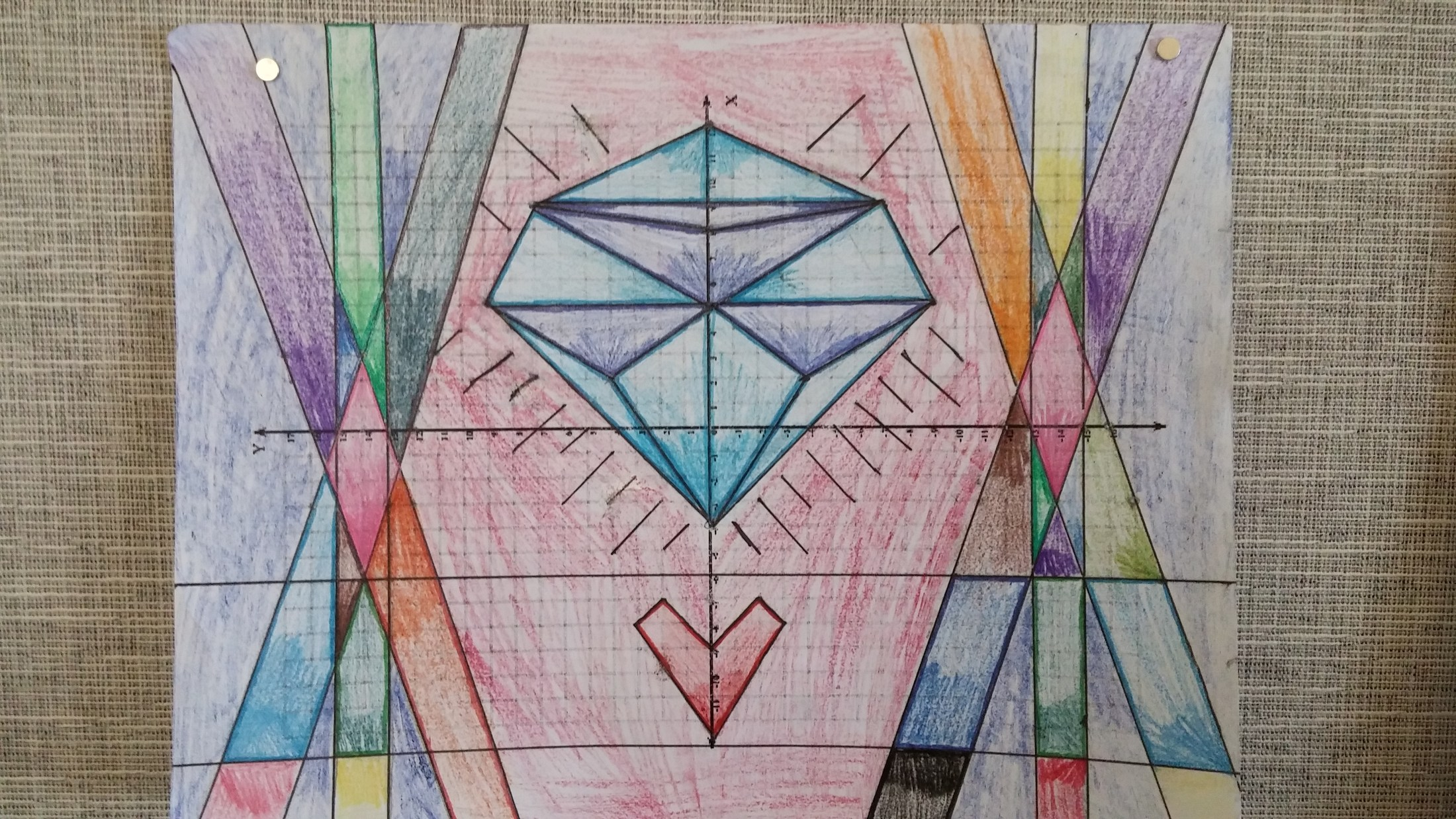 The seventh graders created their own blueprints for a stained glass window.