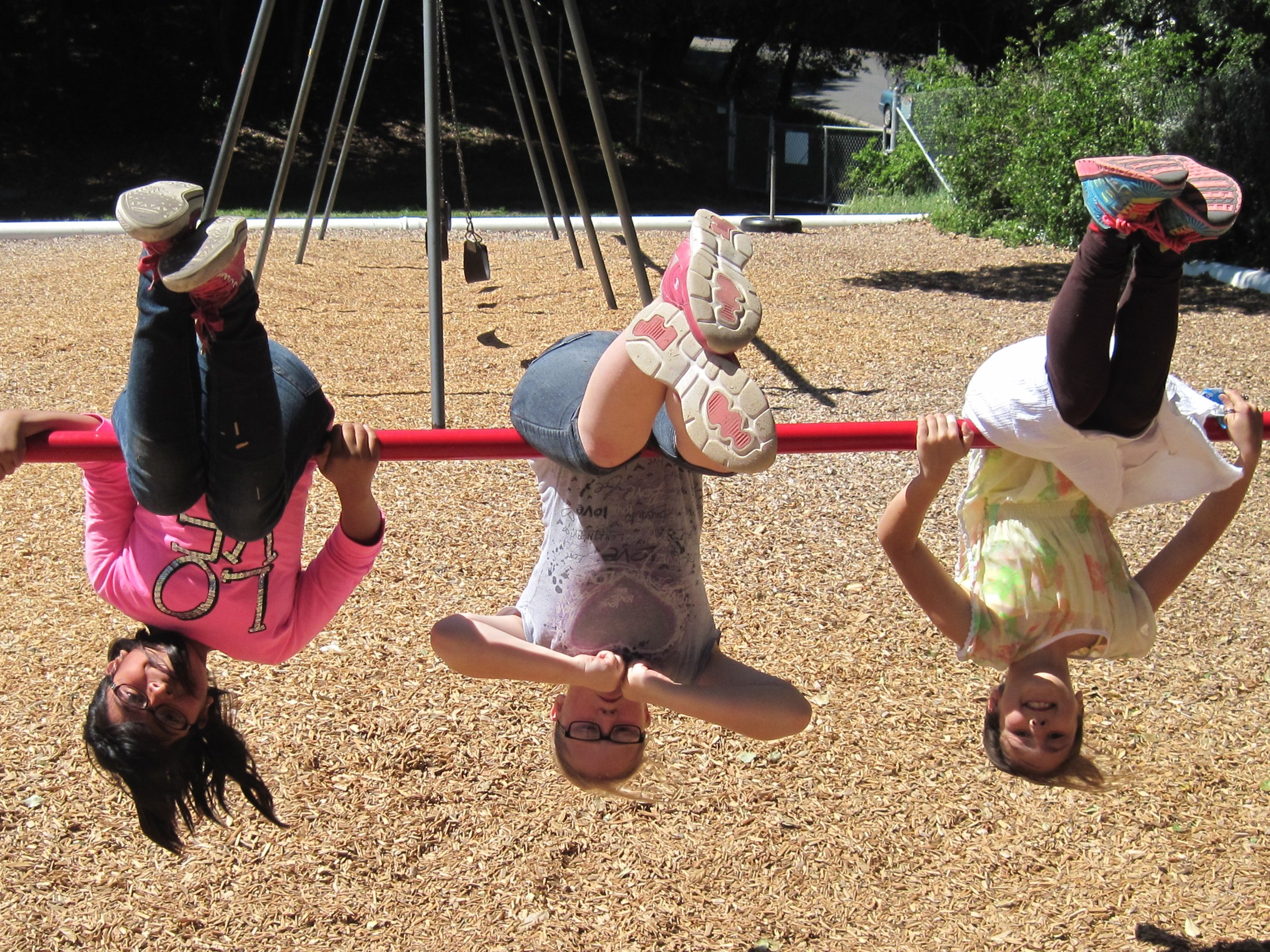 Students hanging upside down