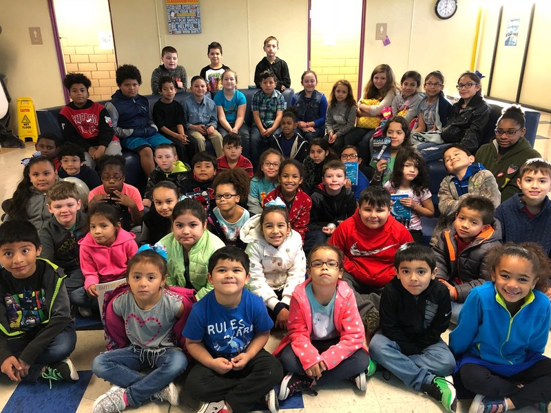 group picture of 120 shields elementary students who celebrated the blue moon on january 31, 2018 at the shield's blue moon breakfast picnic