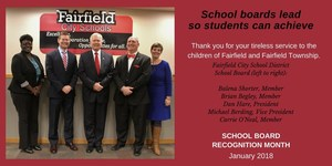 This is a postcard  announcing that January is School Board Recognition Month. The card has a photo of the five board members in the FCSD.