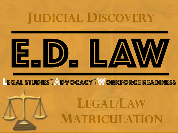E.D. Law Academy logo - legal studies, advocacy, work force readiness.