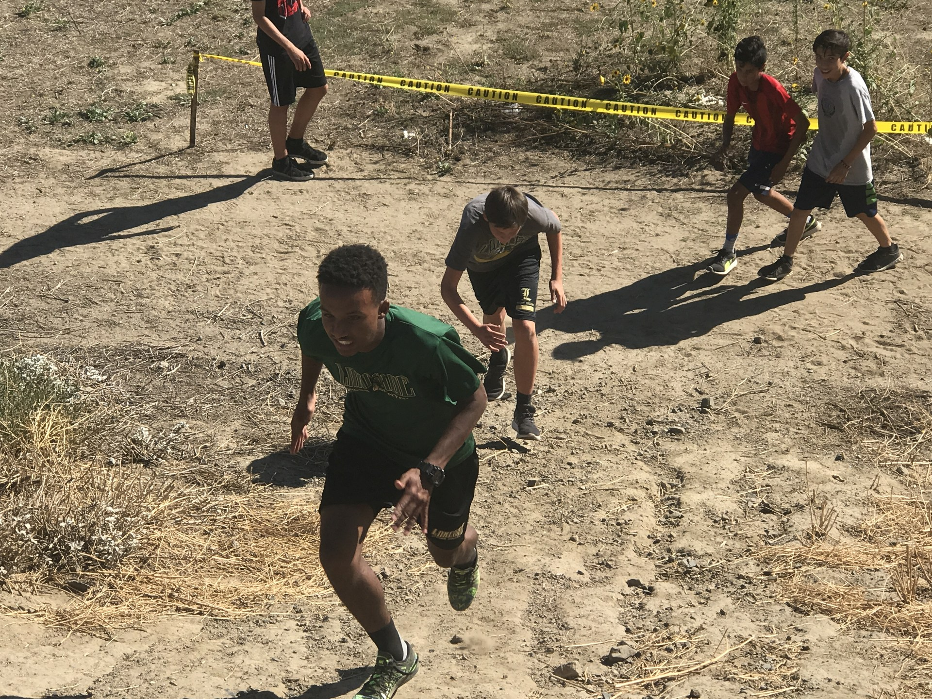Aaron running the hill