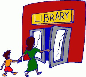 Mother and child entering open doors of library.
