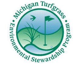 Michigan turfgrass logo with golf course clipart