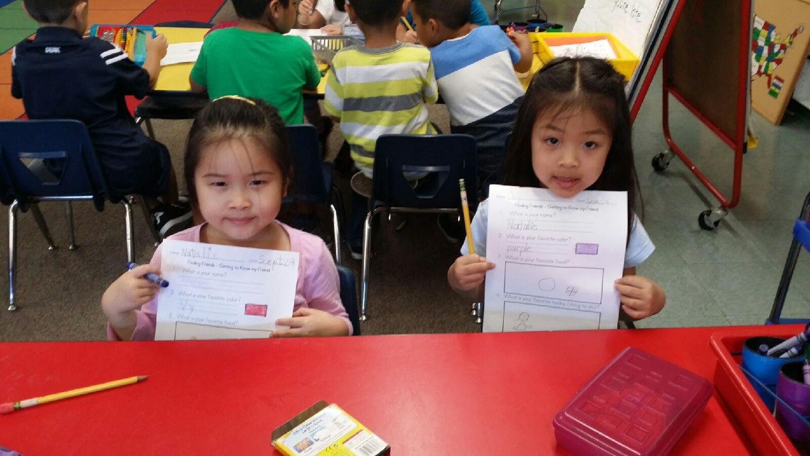 Kindergarteners Make New Friends