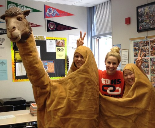 Petitt with students in camel costume