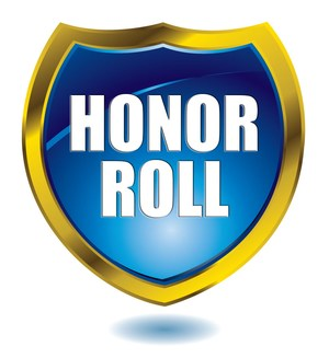 Blue badge with gold trim with Honor Roll inscribed