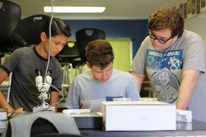 Alfred Ayala, Josh Beal, and Kyle Hinojosa identifying the species of their insect.