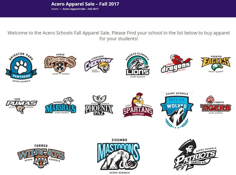 website homepage of school mascots