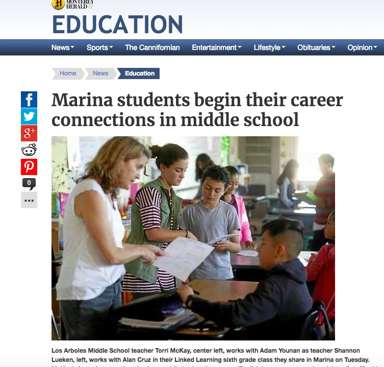 Marina students begin their career connections in middle school Featured Photo