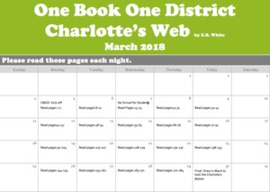 One District, One Book calendar... read Charlotte's Web beginning March 5th through March 30th.