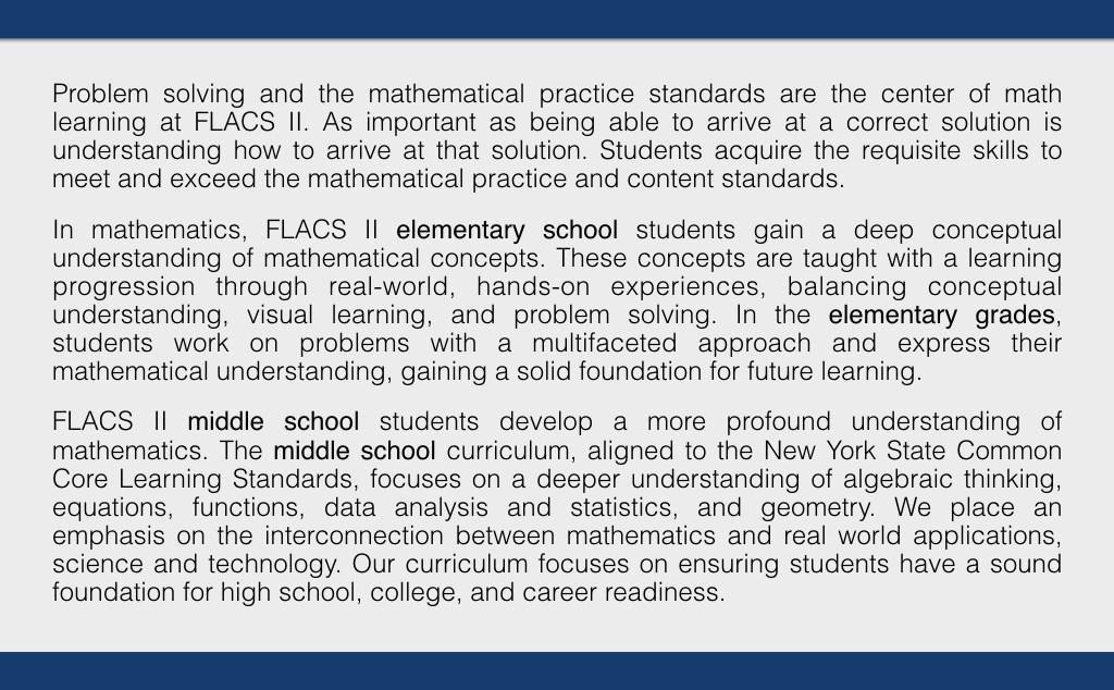 Math – Academics – Family Life Academy Charter School II