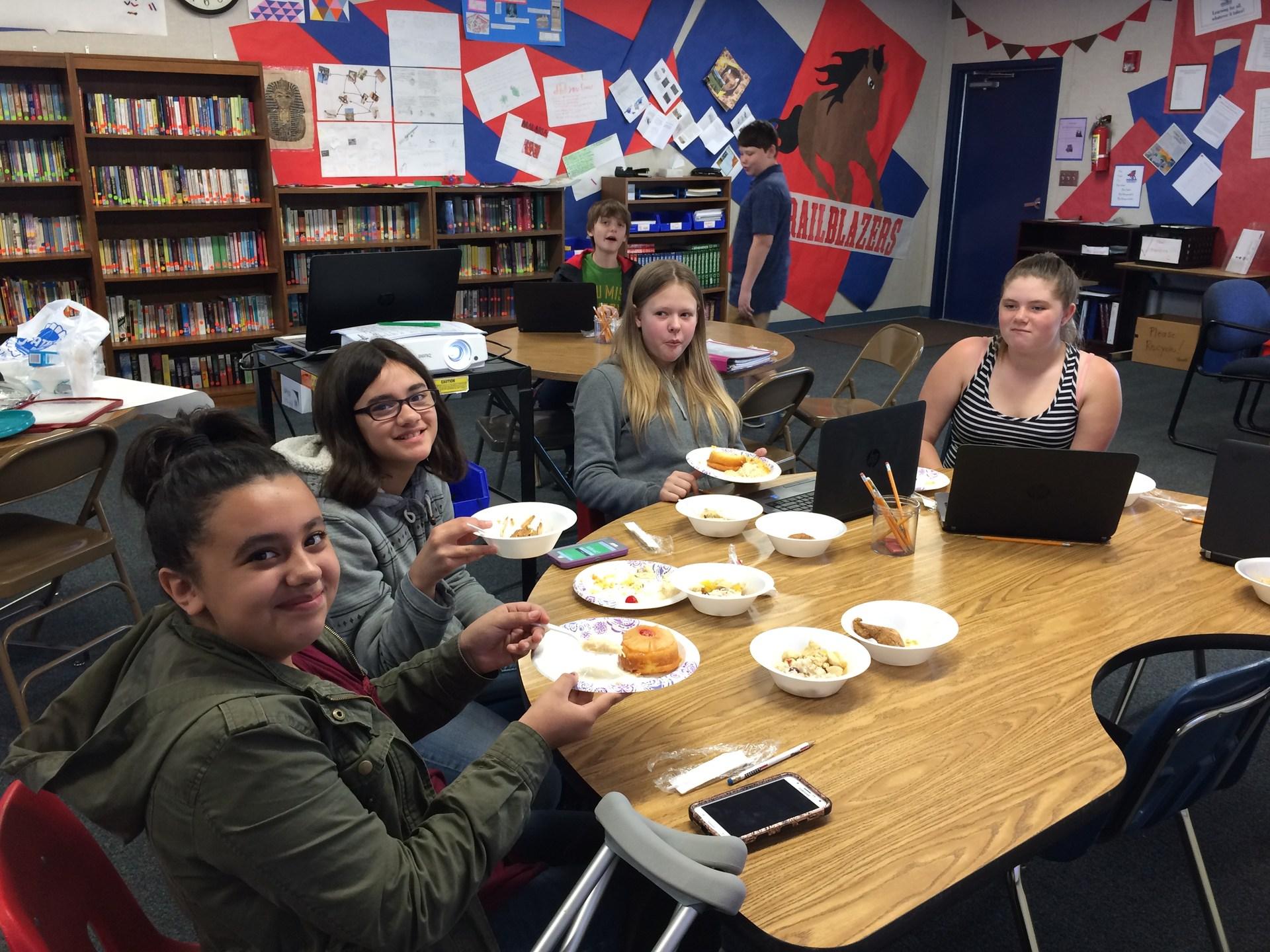 Students eating Caribbean food.