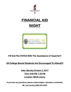 FAFSA Night will be held on October 2, 2017.