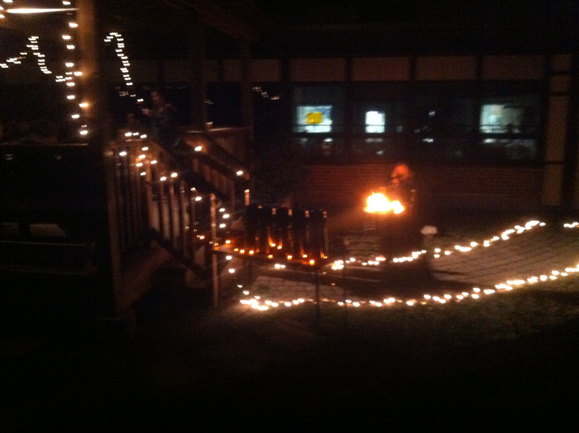 Student-Council-decorated garden area with twinkle lights at HVCHS