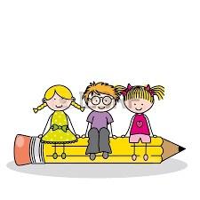 Three Kids sitting on a pencil