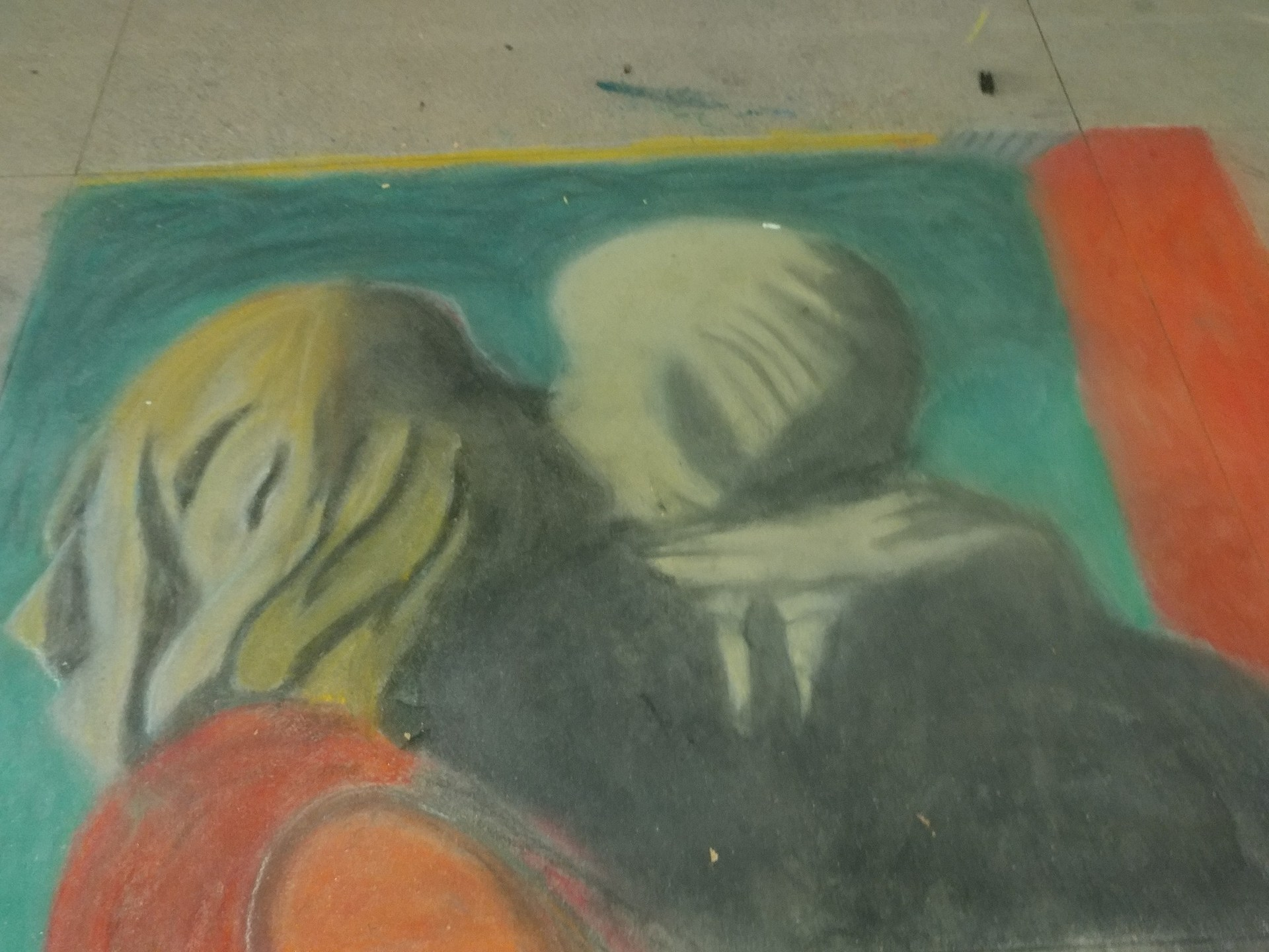 Student chalk art drawing