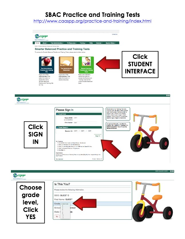 Screen shot of how to find options on drop menu for SBAC Practice.