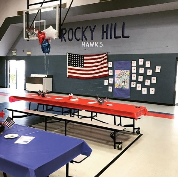 Rocky Hill cafeteria decorated for Veterans lunch on the lawn 2016