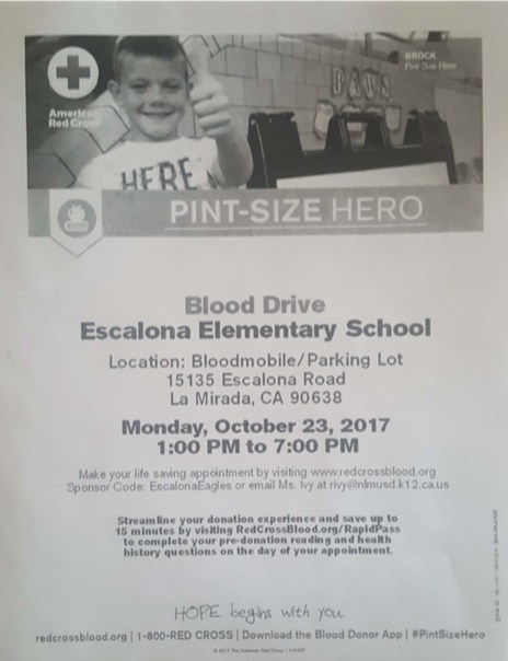 Blood Drive Information - Monday, October 23, 2017 Featured Photo
