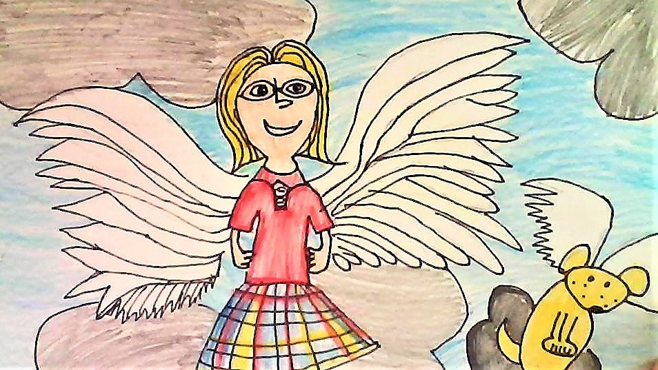 A 3rd Grade Artist's Drawing of Herself and a Dog with Wings!