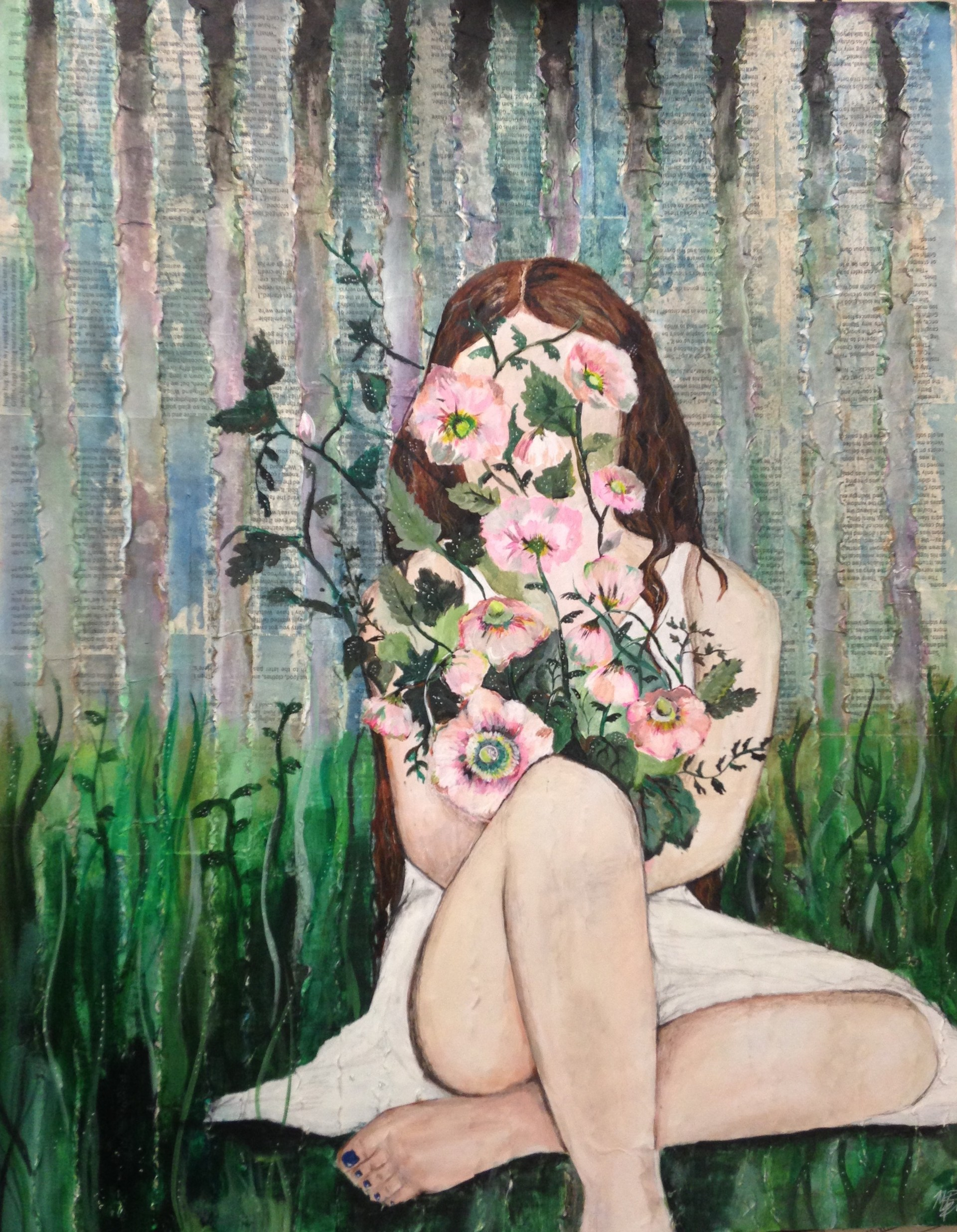 mixed media art of a girl sitting in flowers