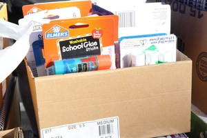 Box of various supplies donated by the Knobel Family
