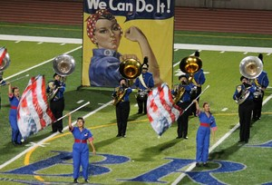 Baldwin Park High School's marching band and color guard perform on Nov. 9.