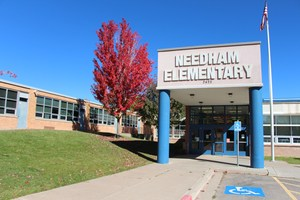 Front entrance at Needham Elementary