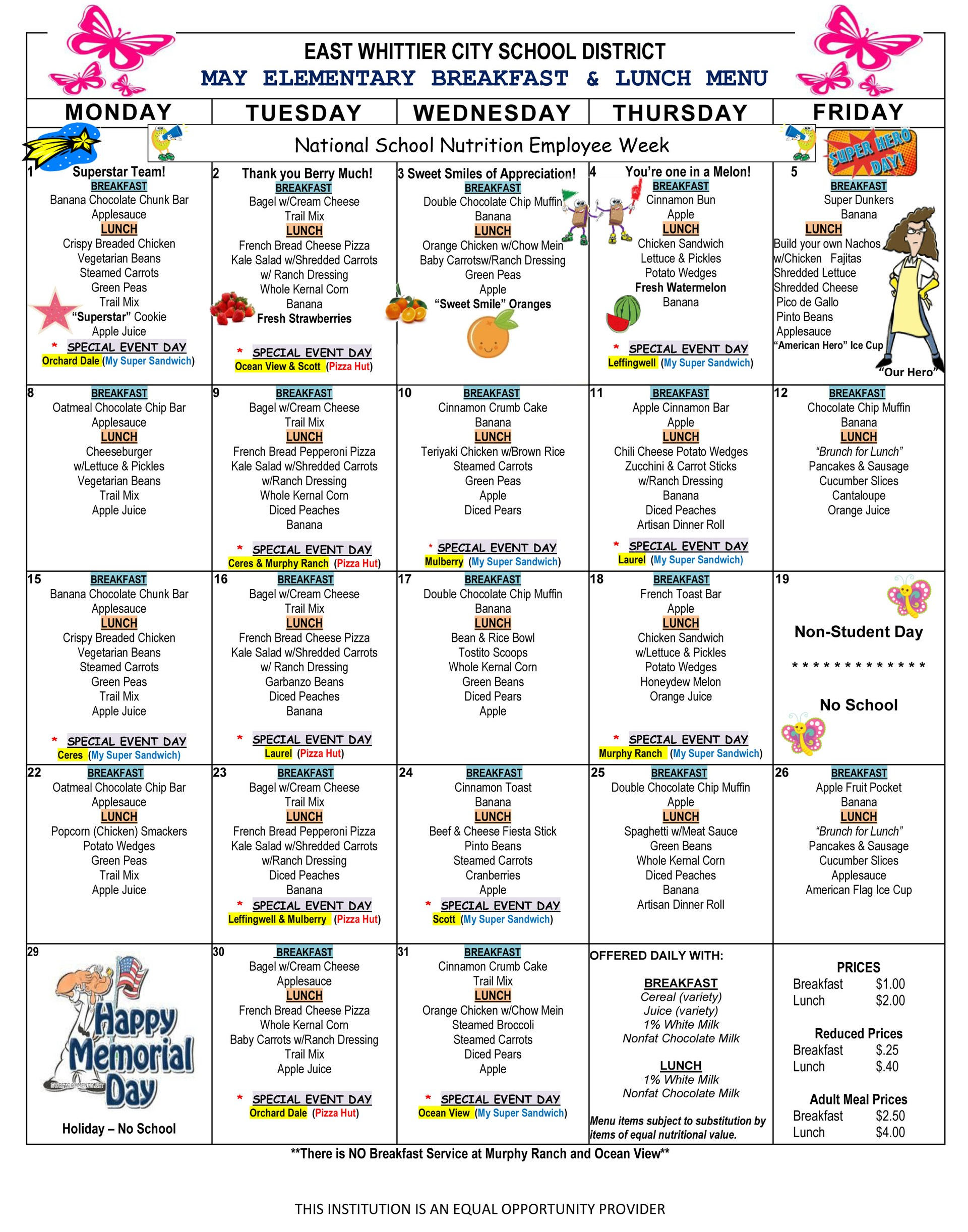 May 2017 school lunch menu