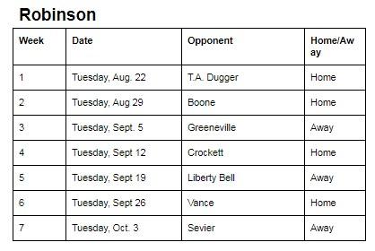 RNR Football schedule