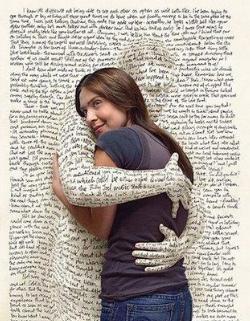 A book hugging a girl