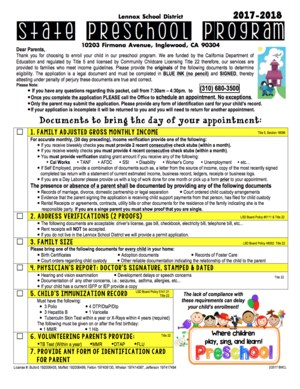 image of lennox state preschool enrollment application