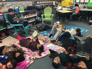 Elmer Wood students reading