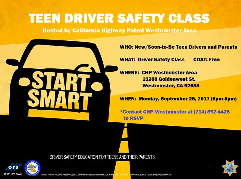Teen Driver Safety Class Hosted By CHP: Monday, September 25 Thumbnail Image