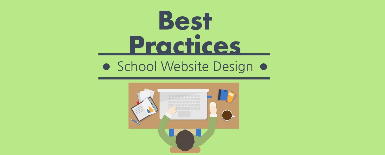 school website design man at desk