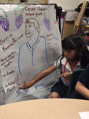 Students drawing cesar chavez