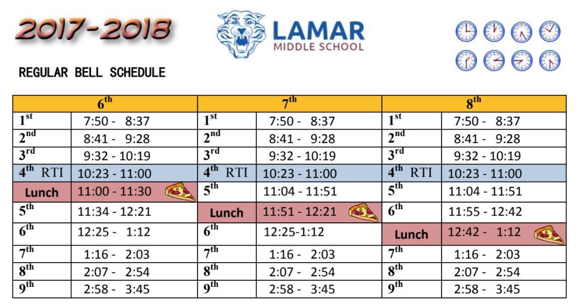Lamar Middle School Bell Schedule