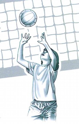 Youth Volleyball Drawing of Child Playing