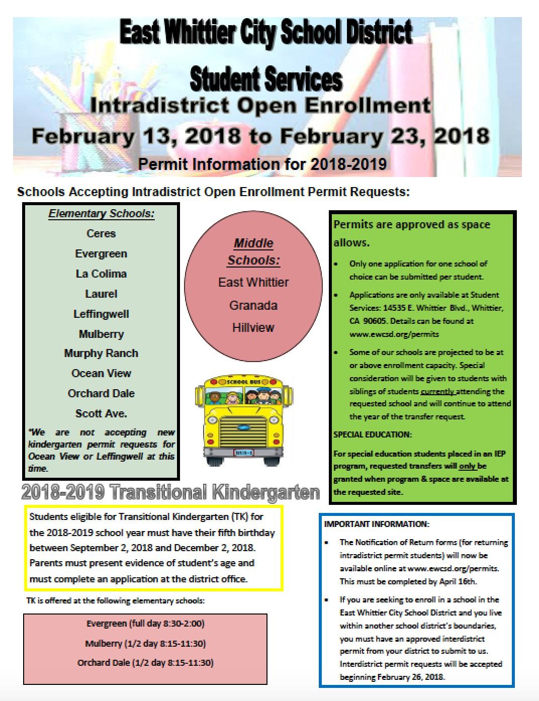 Open Enrollment Permit Flyer 2018-2019