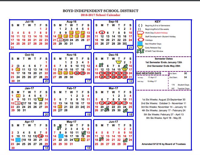 2016-2017 School Calendar (Amended 9-12) Thumbnail Image