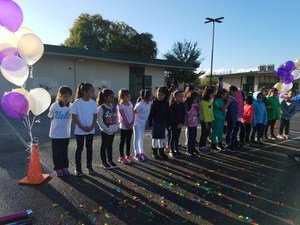 Students lined up ready to race for Turkey trot.