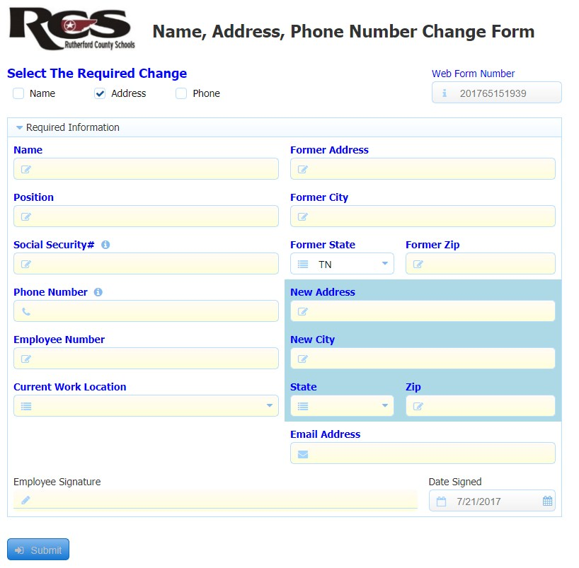 Address Change Form 1