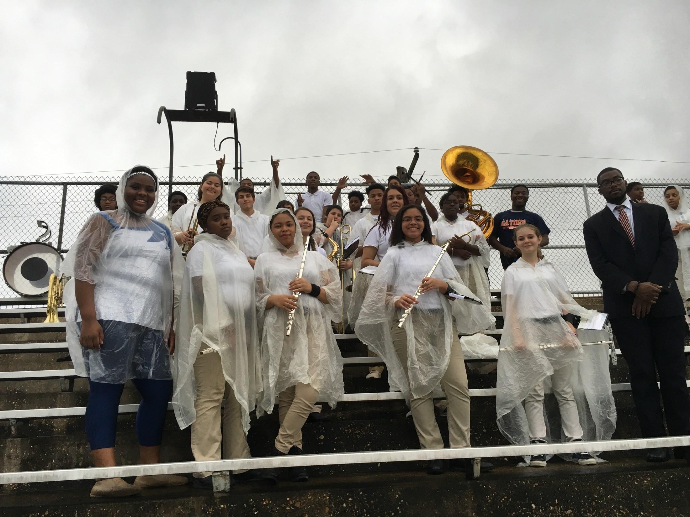 BCHS Flag Team in the rain.