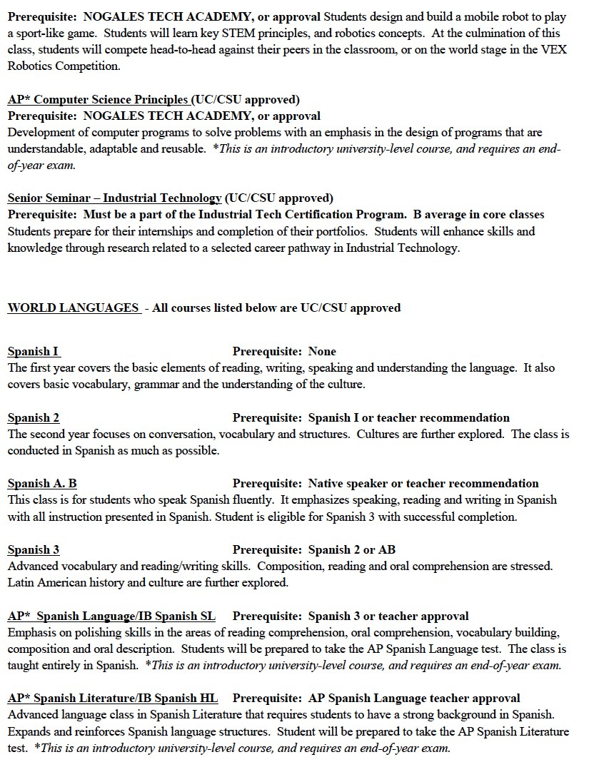 Course offerings course offerings nogales high school pauseenlarge xflitez Images