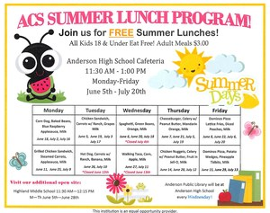 ACS Summer Lunch Program 2018 menu