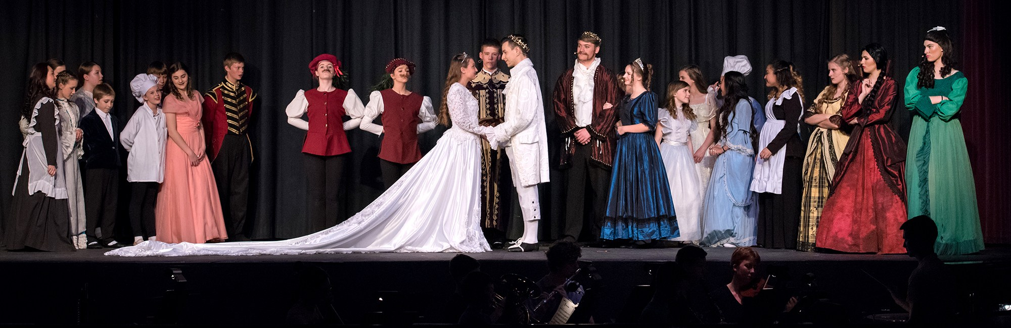 Cinderella Musical - cast on stage and musicians in the pit