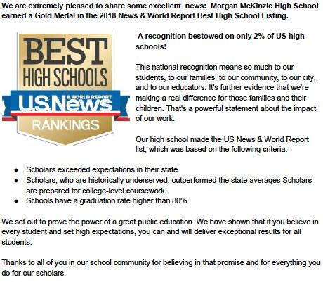 2018 US News & World Report Best High School Thumbnail Image