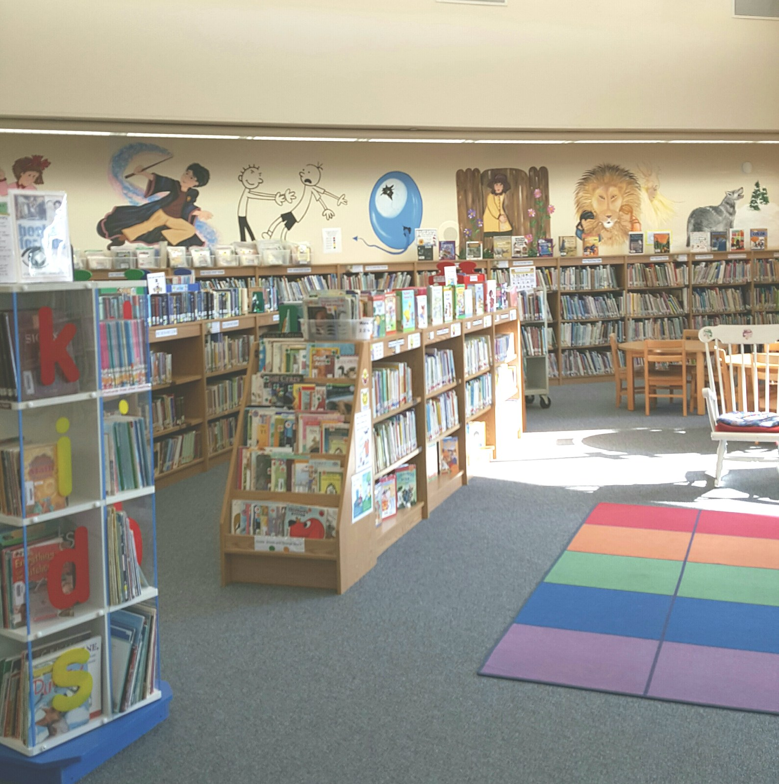 books on shelves and colorful carpet on floor