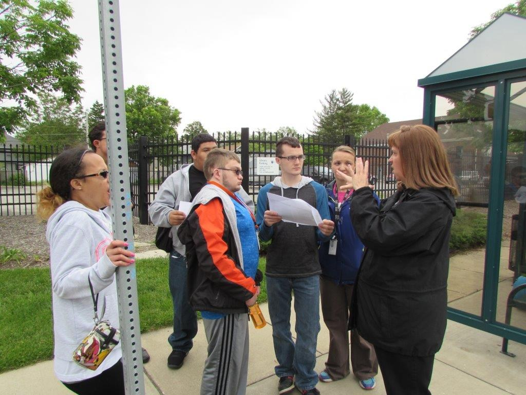 Oriole Academy Students at Indy Go bus stop